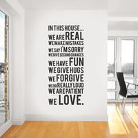 citações de arte para crianças venda por atacado-Regras da casa da família Decalques de papel de parede Removível Art Vinyl Decor Home Quote Adesivos de parede Para Quartos de Crianças Preto 150 * 60 cm