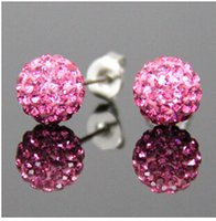 Wholesale Crystal Clay Stud Earrings - (1Lot = 50Pairs Mix 30 Colors) Shamballa Earrings 925 Silver Plated Copper Studs Clay Material With Full Crystal Stud Earrings