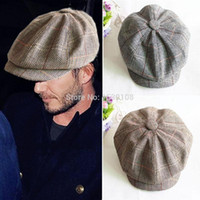 Оптово-ретро-стиль Herringbone Tweed Gatesby Newsboy Cap Mens Wool Ivy Hat Golf Cabbie Country Flat Hat Grey / Khaki CH158