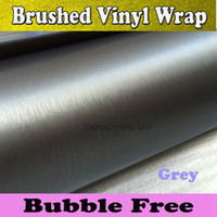 Wholesale Brush Automobile - Titanium Brushed Gray Vinyl Wrap Car Wrap Film Vehicle Styling Air Bubble Free Automobile Tuning aluminum Matte Cover For 1.52x30M Roll