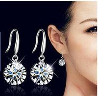 Wholesale 925 Sterling Earrings Stones - Dangle Earring 925 Sterling Silver Wedding Earrings for Women with Stones Earings Fashion Jewelry