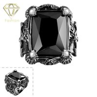 Wholesale Cheap Gem Stones - 2015 Cheap Punk Style Vintage Retro 316L Stainless Steel with Black Square Gem Stone Ring Jewelry for Men