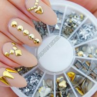 Wholesale Rhinestone Decoration Cell Phone - Cheapest!!!2014 New Fashion 3D Metal Nail Art Decoration Rhinestones Wheel Alloy Nail Studs Cell Phone Accessories b014 10912