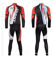 Wholesale bicicleta giant online - Fleece Thermal for winter Giant cycling jersey sport suit mountain bike ropa ciclismo bicycle MTB bicicleta clothing D gel pad BIB