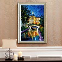 Wholesale Landscape Thick Paintings - Small Bridge River sailing castle modern minimalist home decoration style oil painting high quality palette thick oil canvas painting JL039