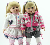 Wholesale American Girl Blonde - 18'' Fair Skin Blonde Long hair Beauty Smiling Girl Vinyl Girl Dolls Play Doll American Girl Doll For Girls
