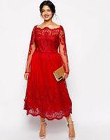 más el tamaño de té vestidos de fiesta al por mayor-Vestidos de noche de encaje rojo más tamaño Vestido de fiesta de fiesta de baile de fin de curso de cuello redondo de manga larga vestido de noche para ocasiones especiales