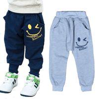 Wholesale Unique Baby Clothes Girls - Retail Baby Boys Smile Pants 2016 Cartoon Children Harem Pants Letter Printing Girls Sport Trousers Unique Smiling Kids Clothing Gray Navy