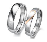 paare lieben herz edelstahl großhandel-Modeschmuck 316L Edelstahl Silber Halbes Herz Einfache Kreis Real Love Paar Ring Trauringe Verlobungsringe Valentines Geschenk