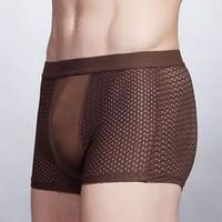 Wholesale Calzoncillos Boxer Wholesale - Sexy Breathable Mesh Men's Boxer Underwear Underpant Cuecas Calzoncillos Underwear Cuecas Boxer Shorts Mens Bodysuit Underwear WS0015