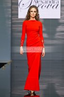 Wholesale Sxey Women - Elegant Grace Bateau Crystal Long Sleeve Sheath Red Formal Evening Dresses Sxey Lady Women Events Dress Gown Prom Hot Sale Custom Discount