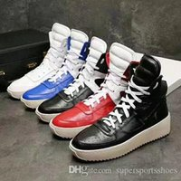 Wholesale White Hi Tops Shoes - 2017 New Fear of god Men's High Sneakers Hi-top casual shoes concise style Autumn Winter Shoes for Running 38-46size Brand Tops Famous