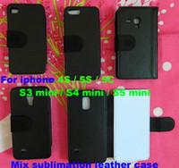 iphone mini 5c fälle großhandel-Mischen Sie für iPhone 4S 5S 5C S3 Mini-S4 Mini-S5 Mini-DIY Sublimierung Flip-Leder-Leerfall mit freiem Verschiffen 500pcs / lot des Kartensteckplatz-Großhandels