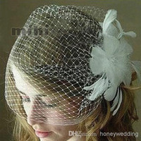 Wholesale blusher veils resale online - Bridal Blusher Bubble Veil Layer wedding puffy veil Wedding birdcage veil Blusher veil DH7482