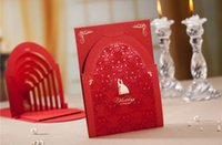 Wholesale Cheap Wedding Invitations Free Shipping - Cheap Red 3D Wedding Invitations Cards With Hollow Cut-out Personalized & Customized Printing Free Shipping Wedding Accessories