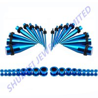 Wholesale Screw Taper Plug - Wholesale-Titanium Blue Anodized Stainless Steel Ear Stretcher Taper & Screw Off Flesh Tunnel Plug Gauge Kit 14g--00g