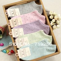Wholesale Export Uk - Wholesale-High quailty 10 pairs lot exported to UK cotton socks women's socks girls candy color sock slippers free shipping,34-39