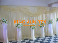 Wholesale Ivory Wedding Backdrops - All Ivory Color Wedding Backdrop Curtain \ Stage Background With Pipe Stand \ Stent For Wedding Event Decoration