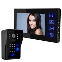 """Wholesale Video Intercom Keypad Systems - Wholesale Wired Touch Key 7"""" Video Door Phone Intercom System 1 RFID Keypad Code Number Doorbell Camera 1 Monitor FREE SHIPPING"""