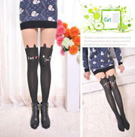Wholesale Tattoo Tights Ankle - CUTE ANIMAL TATTOO TIGHTS - 60D Japan Kawaii Sexy Party Tail Mock Fake Print Knee Length Thigh High Medias Stockings Pantyhose