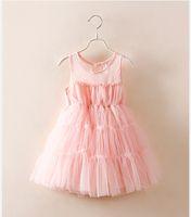 Wholesale Western Style Dresses Kids - Princess Cute Girls Tutu Lace Dress Fairy Dress Sleeveless Halter Mesh Party Dress Western Kids Girls Pink Color Casual Dress
