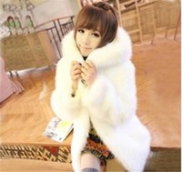 Wholesale Women Outwear Fur Rabbit - Womens Winter Thick Faux Fur Hooded Coat Cute Lovely Rabbit Fur Medium Long White Black Lining Outwear Free Shipping WT125