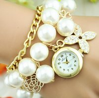 Wholesale chain wristwatch stainless steel digital resale online - Flower Pearl women Bracelet watches with Diamond Four Leaf Clover Pearl Rope chain Watch for Women Crystal Girl Pear Wristwatches
