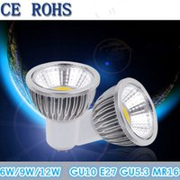 Wholesale 6w E27 Cob - Dimmable COB Led Bulbs 6W 9W 12W Led Spotlight Lamp 120 Angle 110-240V GU10 E27 E14 GU5.3 MR16 12V Warm Cool White Downlight CE ROHS CSA UL