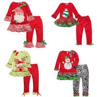 Wholesale Cheap Santa Claus Suits - Girls Christmas Clothes Santa Claus Reindeer Snowman Long Sleeve T-shirt Pants 2pcs Suits Kids Festival Party Clothing Cheap Free DHL 523