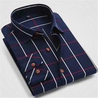 Wholesale Shirt Men Brand Elegant - Wholesale-Elegant Men Dress Shirt Plaid Cotton Long Sleeve 100% Brand New Top Korean Casual Design Muscle Fitted Business Clothes S-4XL