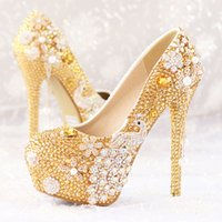 Wholesale Gold Diamond High Heels - Glitter Gold Rhinestone Wedding Shoes 5 Inches High Heel Party Pumps Bling Diamond Evening Prom Heels Celebrity Function Shoes