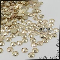 Wholesale Stone Color Dresses - Wholesale-10mm Gold Color Sew On Rhinestone Round Acrylic Flatback Gems Strass Crystal Stones For Dress Decorations 500pc