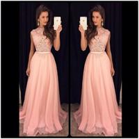 Wholesale Long Party Dresses Online - Elegant Pink Lace Prom Dresses A Line Chiffon Cheap Party Dress Fashion 2016 Long Cheap Evening Prom Dress Online