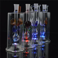 "Wholesale Shinning Glasses - LED Light Bongs 5"" inches Glass Water Pipe with Tube Glittering Oil Rigs 10mm Glass Pipe Shinning Inline Circle Perc Bent Bowl Wholesale"