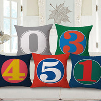 Wholesale Linen Baby Pillow Cases - 0 To 9 Numbers Cushion Covers Modern Minimalism Colorful Number Cushion Cover Baby Kids Birthday Date Linen Pillow Case For Sofa Chair