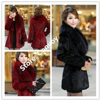 Wholesale Womens Tops Size Xl - Top quality Faux Fur luxury Lapel Neck long womens Faux Rabbit Hair fur noble grace body slim Winter Warm coat Plus sizes WT28