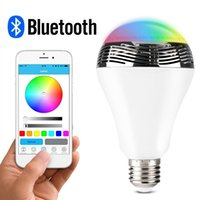 Wholesale Smart Bulb Bluetooth Audio Speakers W E27 LED RGB Light Music Bulb Lamp Color Changing via App Control Android Iphone Compatible