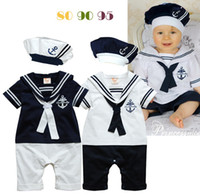 Wholesale Sailor Clothing Set - Retail Summer Newborn Navy Style Baby Boys Girls Rompers + Hat 2Pcs Set Kid's Short-Sleeve Sailor Bodysuits Children Jumpsuit Clothing Suit