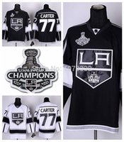 Wholesale China Roads - 2015 2014 Stanley Cup Champions Los Angeles Kings #77 Jeff Carter Jersey Home Black Road White LA Kings 77 Stitched Jerseys China
