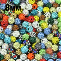 Wholesale Disco Ball Beads Loose - Wholesale-Wholesale High quality 8MM 20pcs Loose bead Clay Disco Ball Pave Crystal Shamballa Beads Jewelry necklace bracelets Making DIY
