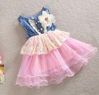 Wholesale Embroidery Baby Dress - baby girl kids lace dress Denim hole dress flower floral tutu dress vintage princess jumper wave ruffle zig zag crochet embroidery rosette 5