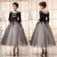 Wholesale Tea Length Evening Gown Tulle - 2015 Black Cocktail Dresses Tea Length Half Sleeves Cheap In Stock Scoop Tulle Lace Up Applique A-Line Women Evening Gowns Party Prom Dress