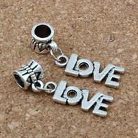 Wholesale Tibetan Silver Dangle Charms European - MIC .50pcs   lot Tibetan Silver LOVE Dangle Charms Beads Fit European Bracelet 8x33mm DIY Jewelry