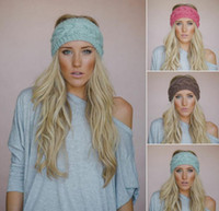 Wholesale Cheap Knitted Flowers - 2015 Hot womens wide Crochet Headbands Knit hairband Flower Winter elastic Ear Warmer Headwrap hair accessories for ladies 20 colors cheap