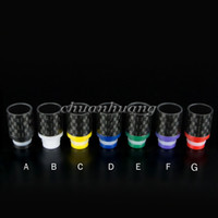 Wholesale Mouthpiece For Ecigarette - Delrin & Carbon Fiber Drip Tips Flat wide bore Drip Tip 510 EGO Atomizer Mouthpieces for RAD EE2 DCT EVOD CE4 tanks ecigarette mod