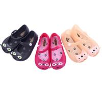 gato simples venda por atacado-Mini melissa menina sandálias 2015 venda quente nova planície chuva bota bebê verão geléia gato pequeno crianças criança crianças sapatos zapatos