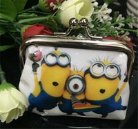 bolsa de botones barato al por mayor-2015 3D Minions Cartoon Minion Monedero Despicable Me cambiaré Cero bolsos con niños botón hierro bolsa de cáscara billetera niños Regalos baratos