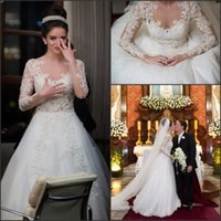 Wholesale Modest Wedding Dresses Lace Appliques Pearls Floor Length A Line Illusion Neckline Long Sleeves Bridal Gowns Vestido EV0226