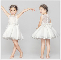 Wholesale white baby yarn - High Quality Sleeveless Girl Net Yarn Baby Lace Vest Dresses Floral Printed Hollow Out White Wedding Dress Party Prom Dress Children Clothes