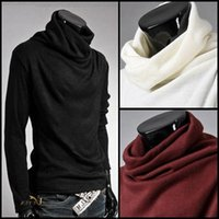 Wholesale Button Turtleneck Sweater - 7 colors New Men Pullover Sweaters Long Sleeve Mens Knitted Sweaters Turtleneck Sweater Casual hoody outwear M-XXL